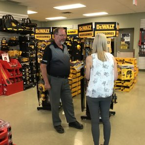 Two people shopping in Knell's showroom on 2090 Shirley Dr, Kitchener, Ontario