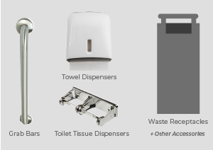 Image of washroom accessories such as: grab bars, toilet tissue dispensers, towel dispenser and waste receptacles