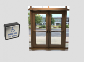 Double Entry Doors with exit device and automatic door opener