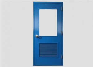 Blue door with metal lever, window lite and louvre