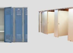 Toilet partitions and bank of lockers