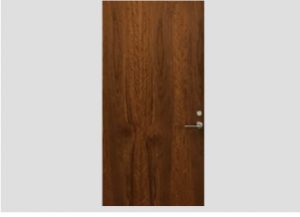 Brown wood slab door with door lever and lock